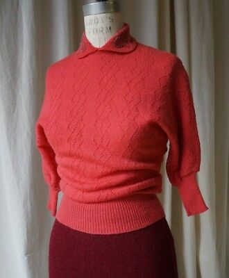 1940s  machine knit sweater with detail