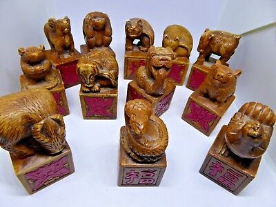 Antique Carved Soap Stone Chinese Stamps Seals Lot of 12 Cobra Cat Rat Horoscope