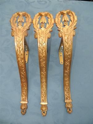 Set of 3 Superb Matching Antique French Curtain/Drape Pole/Rod Support Holders