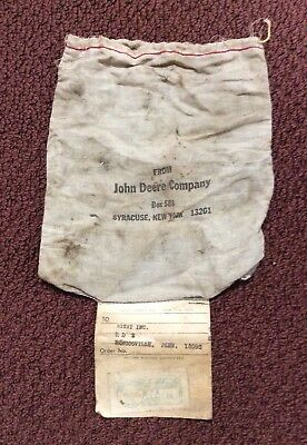 Vintage 1960s John Deere Mailing Pouch w/ Postage - feed sack fabric material