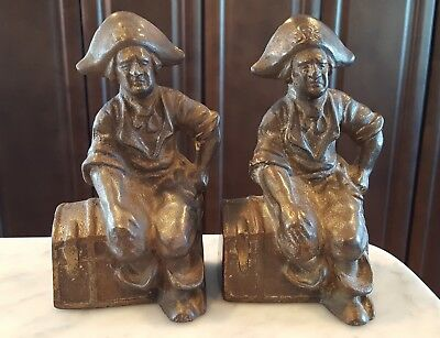 Vintage Antique HUBLEY Cast Iron Bookends Pirates Sitting on Treasure Chest 1920