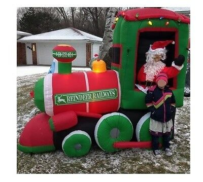 Gemmy Airblown Inflatable 9FT Long Christmas Santa in Train ------ New In Box