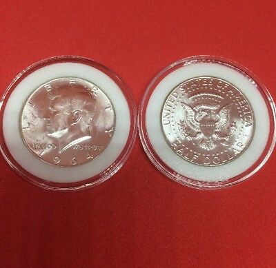 1964 50C Kennedy Half Dollar 90% Silver Uncirculated Coin in Coin Capsule!