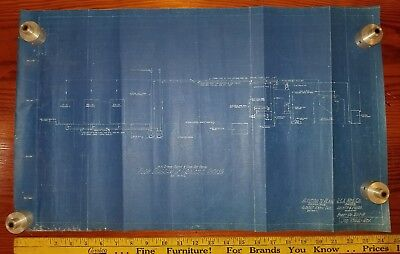 Reclaimed Vintage Cloth Blueprint Drawing, RCA 1939 Addition To Plant, 200-M