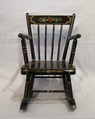 Vintage Child's Spindle-back Black Rocker with Hitchcock Style Stenciling.Sturdy
