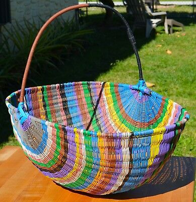 Vintage Large  WOVEN TELEPHONE WIRE BASKET WITH HANDLE  African? Handmade