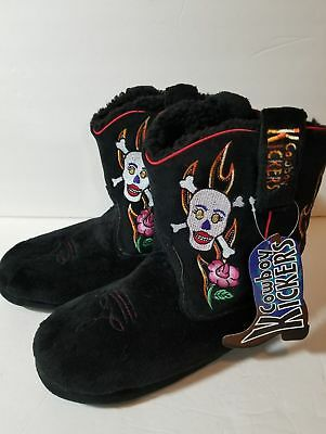 Cowboy Kickers Women Slippers Booties Skull and Roses Size: Medium 6-7 Large 8-9
