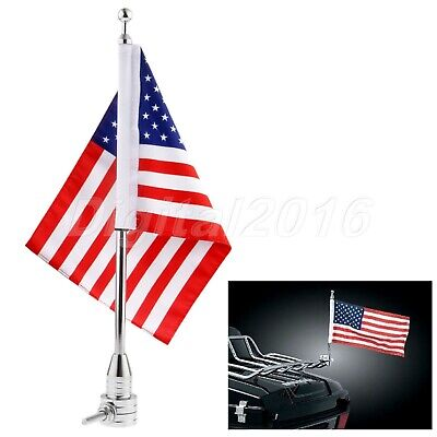 Motorcycle Motorbike Rear USA Flag Pole Luggage Rack Mount for Harley-Davidson