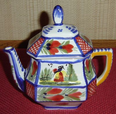QUIMPER Blue Mistral Teapot With Peasant Breton Woman D. Soyiniy Beautiful!