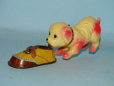 Dog With Shoe Tin & Celluloid Windup Toy Occupied Japan