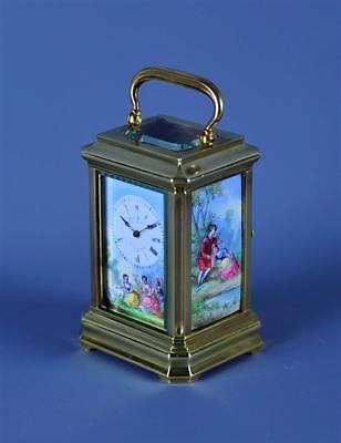 Miniature Carriage Clock With Enamel Panels