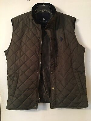 U.S. Polo Assn. Men's Diamond-Quilted Vest W/ Corduroy Collar Olive Green XL