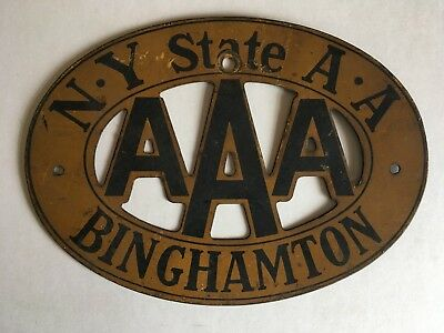 """1933 Binghamton New York AAA License Plate Topper Grill Badge Large 5.5"""" Size"""