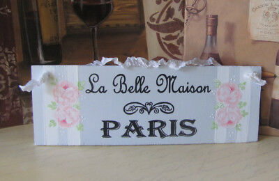 Hand Painted Shabby Cottage Chic Paris Sign French Country Pink Roses Romantic