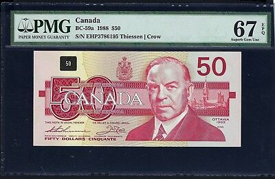 Canada 1988 BC-59a PMG Superb Gem UNC 67 EPQ 50 Dollars (Thiessen-Crow)