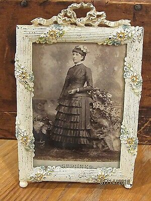 Antique Picture Frame Cast Iron - Easel style floral design painted shabby chic