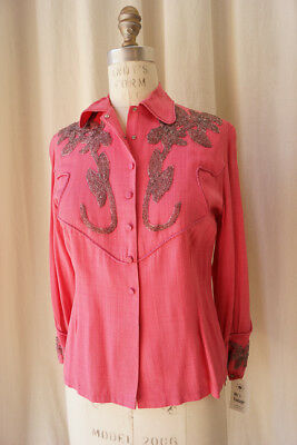 pink couture western shirt with heavy beading piping small cowgirl showgirl