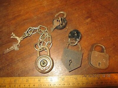 5 old Vintage Padlocks - Corbin and others - 2 with keys .German made Abus lock