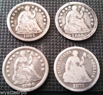 Lot of 4 Silver Seated Liberty Half Dimes Dime 1841 1843 1849 1872