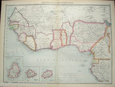 Antique Large Map c1906 West Africa European Possessions