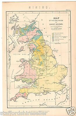 Antique Victorian Print c1880 Map of the Coal Fields of Britain
