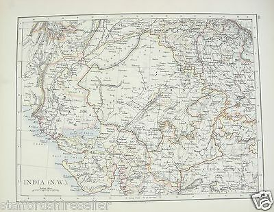 Antique 1895 Map of India North West by W AK Johnston