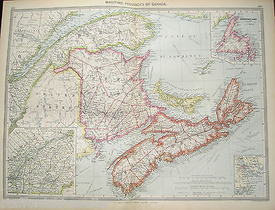 Antique Large Map Canada c1906 Maritime Provinces Inset Newfoundland Halifax