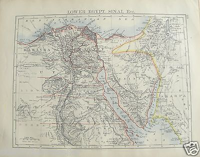 Antique 1895 Map of Lower Egypt Sinai by W AK Johnston