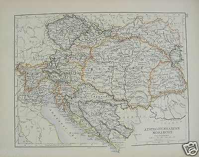 Antique 1895 Map of Austro Hungarian Monarchy by W & AK Johnston