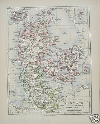 Antique 1895 Map of Denmark Schleswig-Holstein by W & AK Johnston