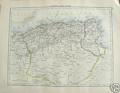 Antique 1895 Map of Algeria with Tunis by W AK Johnston