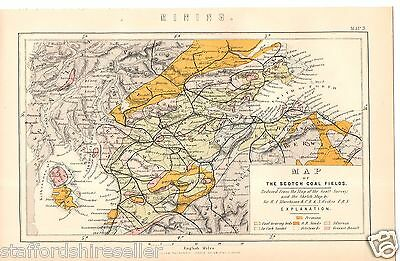 Antique Victorian Print c1880 Map of the Scottish Coal Fields