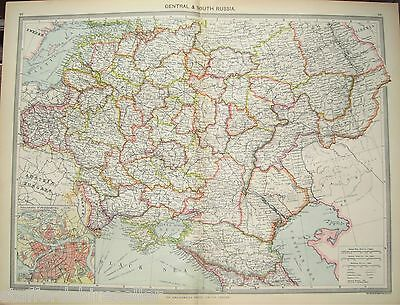 Antique Large Map c1906 Central South Russia St Petersburg