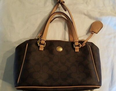 Tan accent Black and Brown Carryall Signature Coach Purse