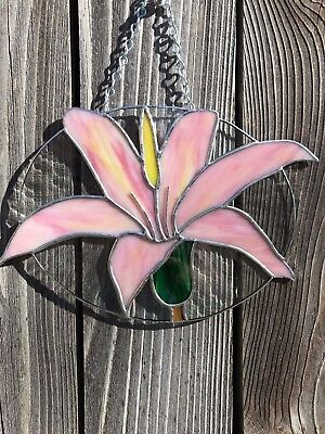 Pristine stained glass art Lily suncatcher flower window hanging!