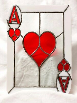 Ace of Hearts Stained Glass Card Suncatcher Panel! Perfect for the card player!