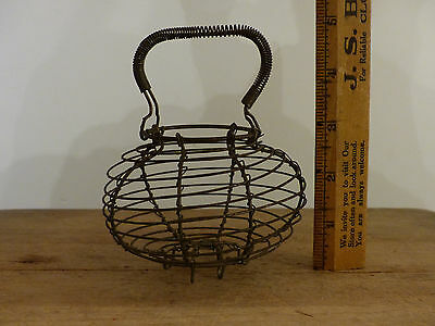 ANTIQUE Vintage TINY SMALL Child's TOY METAL Wire Prim EGG BASKET
