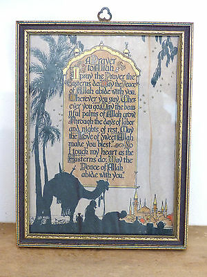 "ANTIQUE Vintage 1930 Art Deco BUZZA Motto Print ""PRAYER TO ALLAH"" Gilt MERO"