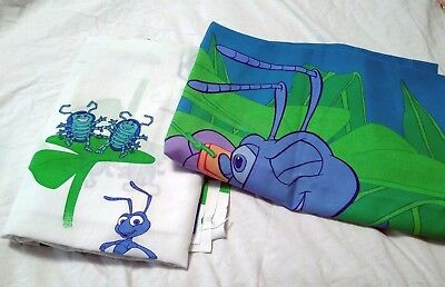 Vintage Disney Pixar A Bug's Life Twin Flat Sheet & Pillowcase Bedding Fabric