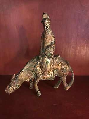 Rare Antique Asian Censer Incense Burner Gilt Cast Iron Deity Immortal Dignitary