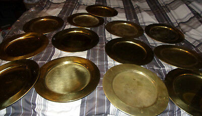 Large Lot Of 13 Vintage Large Brass Denmark Plate
