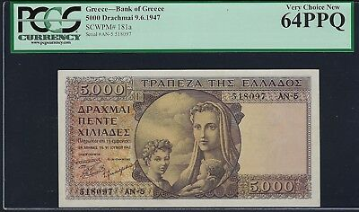 Greece 1947 P-181a PMG Very Choice New UNC 64 PPQ 5000 Drachmai