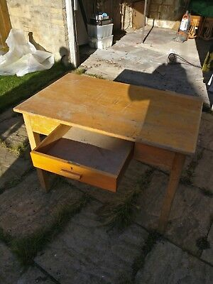Wooden desk with draw large old school desk vintage shabby chic