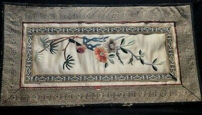 """Old Vintage Chinese Runner Silk Hand Embroidery Bird & Flowers 24"""" x 17"""" AS IS"""