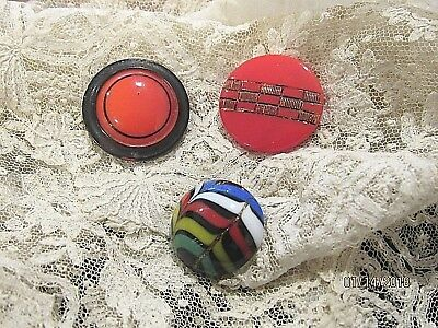 3 Antique Victorian Glass Buttons red stripes old vintage sewing button 1800's