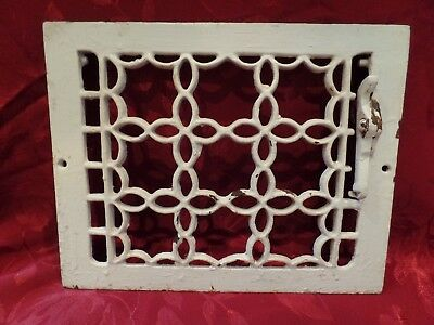 Antique Victorian Gothic Cast Iron Heat Grate Wall Register Garden Art Salvage