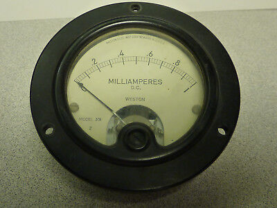 Vintage Weston Model 301 DC Milliamperes Panel Meter - Ranges 0 to 1 mA