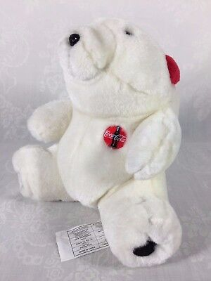"Coca Cola White Plush Stuffed Sitting 7"" Bear with Red Ear Muffs VGC 1997"
