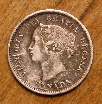 1871 Canada 5 Cents Key Date Die Break Across Obverse