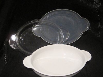 "Corning Ware Oval ""grab It"" Casserole Bowl P-14-B  Pyrex Clear Glass Lid P-14-C"